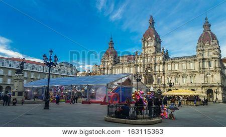La Coruna, Galicia, Spain - December 8, 2016: Municipal Palace and City Hall Square of Coruna