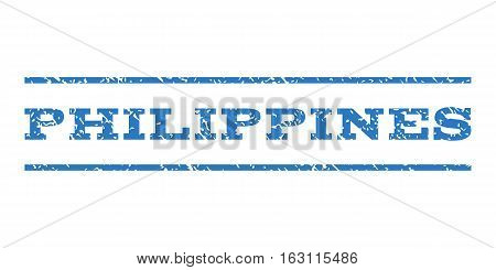 Philippines watermark stamp. Text caption between horizontal parallel lines with grunge design style. Rubber seal stamp with dust texture. Vector smooth blue color ink imprint on a white background.