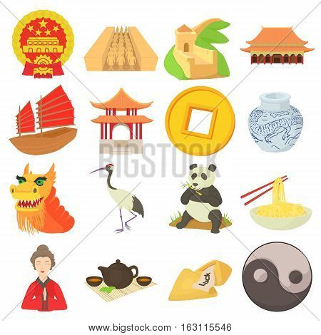 China travel icons set. Cartoon illustration of 16 china travel vector icons for web