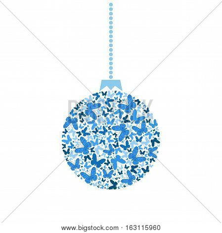 Vector Christmas tree ball from blue butterflies