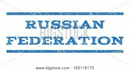 Russian Federation watermark stamp. Text caption between horizontal parallel lines with grunge design style. Rubber seal stamp with dirty texture.