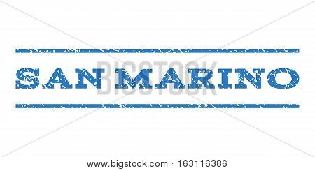 San Marino watermark stamp. Text tag between horizontal parallel lines with grunge design style. Rubber seal stamp with unclean texture. Vector smooth blue color ink imprint on a white background.
