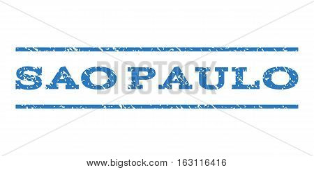 Sao Paulo watermark stamp. Text caption between horizontal parallel lines with grunge design style. Rubber seal stamp with scratched texture.