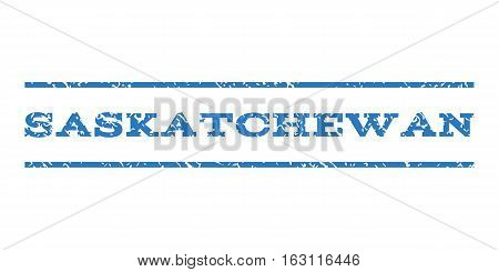 Saskatchewan watermark stamp. Text tag between horizontal parallel lines with grunge design style. Rubber seal stamp with scratched texture. Vector smooth blue color ink imprint on a white background.