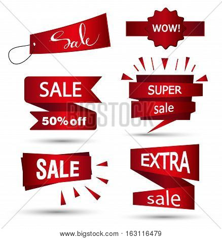 Sale banner design. Set of beautiful red discount and promotion banners. Advertising element. Sale banner tag. Sale banner art. Vector illustration eps 10.