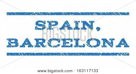 Spain, Barcelona watermark stamp. Text tag between horizontal parallel lines with grunge design style. Rubber seal stamp with scratched texture.