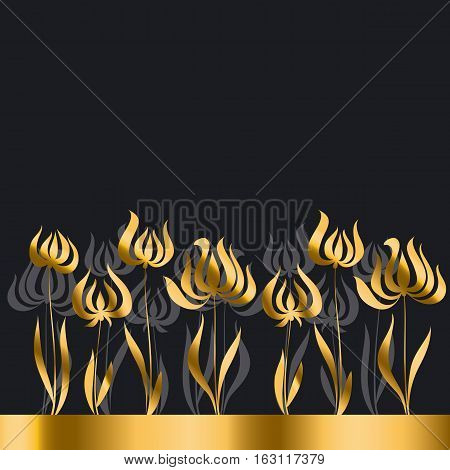 gold tulip Art Nouveau style vector illustration