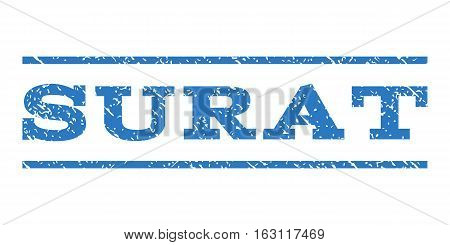 Surat watermark stamp. Text tag between horizontal parallel lines with grunge design style. Rubber seal stamp with unclean texture. Vector smooth blue color ink imprint on a white background.