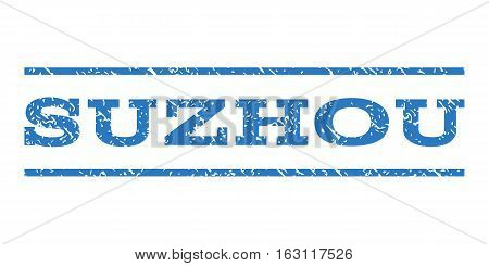 Suzhou watermark stamp. Text caption between horizontal parallel lines with grunge design style. Rubber seal stamp with unclean texture. Vector smooth blue color ink imprint on a white background.