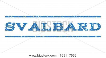 Svalbard watermark stamp. Text tag between horizontal parallel lines with grunge design style. Rubber seal stamp with dust texture. Vector smooth blue color ink imprint on a white background.