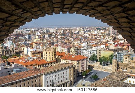 Aerial view of the Zaragoza city from the tower of Cathedral-Basilica of Our Lady of the Pillar in summer, Zaragoza, province Aragon, Spain