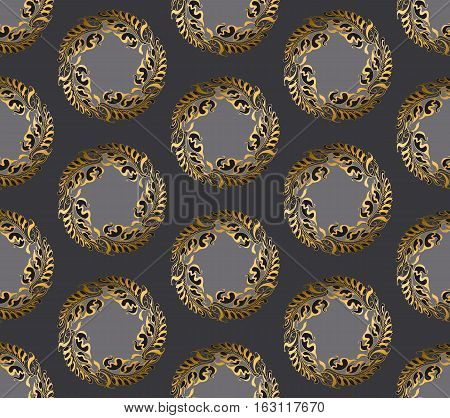 Art Nouveau style vector gray round pattern illustration