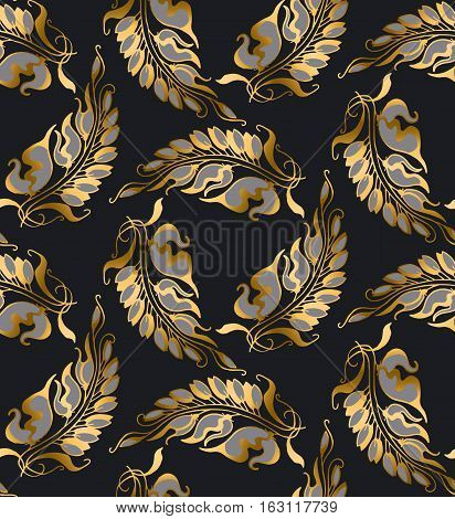gold Art Nouveau style vector pattern illustration