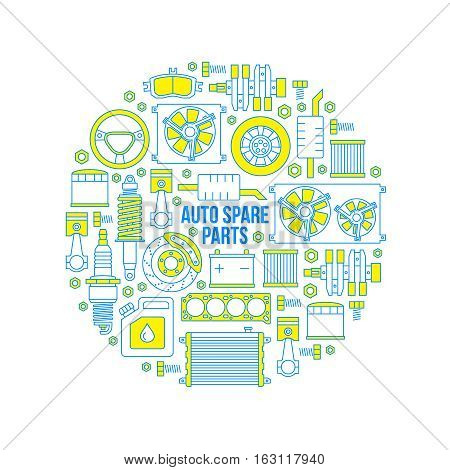Set of auto spare parts. Car repair icons in outline style. Vector illustration EPS10.