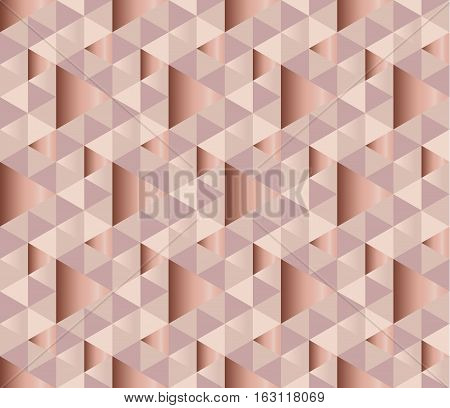 copper metal texture vector background. luxury festive surface backdrop. geometry metal shining background. geometric seamless pattern. rosy tender elegant abstract repeatable motif.