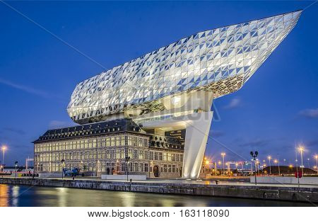 ANTWERP, BELGIUM - DECEMBER 26, 2016: New office port in the harbor of Antwerp, Belgium.