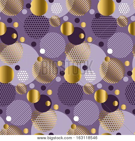 Xmas seamless dots modern pattern. purple background geometry circle color seamless fabric sample. geometric pattern swatch vector illustration