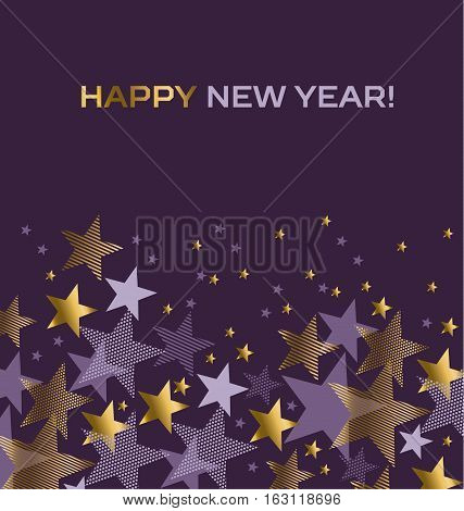 Concept star abstract vector illustration. Violet purple color background with gold and violet stars. New Year festive geometric vector motif.