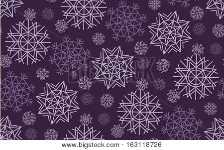 Classic Christmas snowflakes seamless pattern. White and ink color background snow fabric sample. geometric pattern swatch vector illustration. repeatable geometry modern motif
