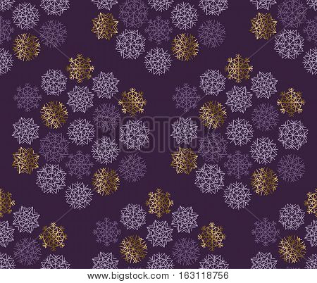 Xmas snowflakes seamless pattern. Gold and ink color background snow fabric sample. geometric pattern swatch vector illustration. repeatable geometry modern motif