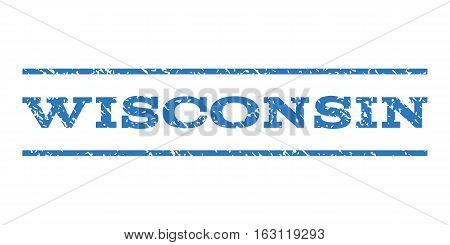 Wisconsin watermark stamp. Text caption between horizontal parallel lines with grunge design style. Rubber seal stamp with scratched texture.