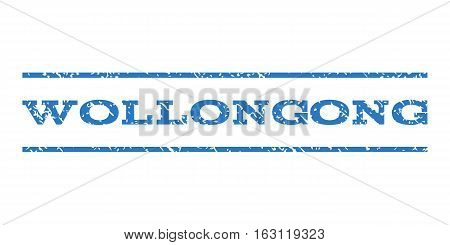 Wollongong watermark stamp. Text caption between horizontal parallel lines with grunge design style. Rubber seal stamp with dust texture. Vector smooth blue color ink imprint on a white background.