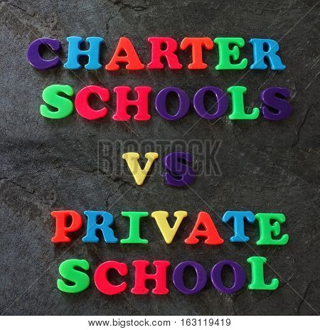 Charter Schools vs Private School spelled out in play letters -- education concept