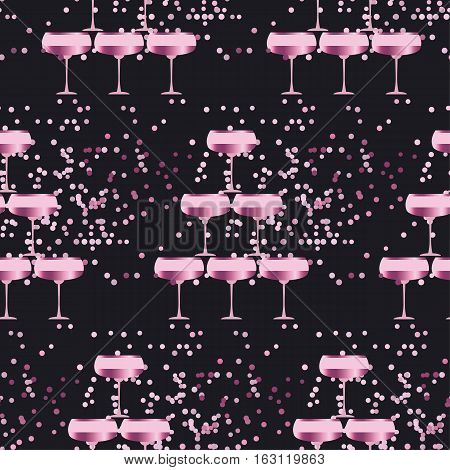 elegant light seamless pattern with sparkling wine glasses on black background. celebration repeatable motif with rose champagne for wrapping paper, wallpaper, fabric, background.