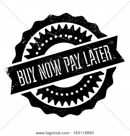 Buy now pay later stamp. Grunge design with dust scratches. Effects can be easily removed for a clean, crisp look. Color is easily changed.