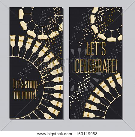 sparkling wine concept vector illustration with gold metal elements for wedding or new year celebration cards, invitations, posters.