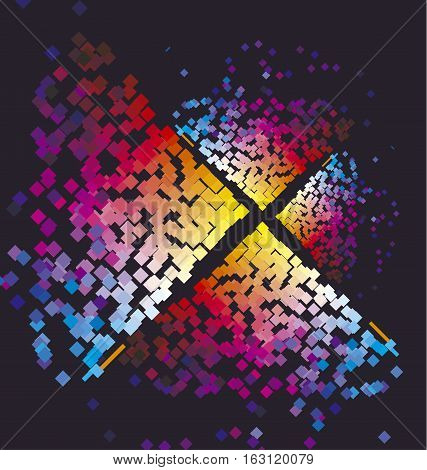 Modern colorful pattern with color square. Dynamic vivid bright motif. Rainbow color factive vector illustration.