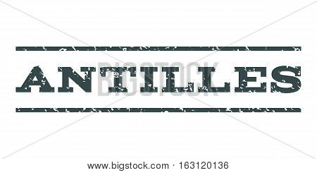 Antilles watermark stamp. Text tag between horizontal parallel lines with grunge design style. Rubber seal stamp with dirty texture. Vector soft blue color ink imprint on a white background.