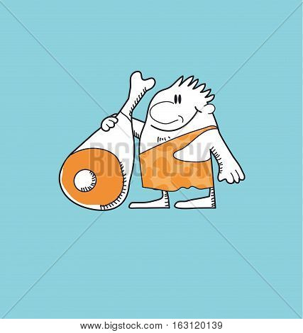 neanderthal cartoon man with pork ham. concept vector illustration of wild human