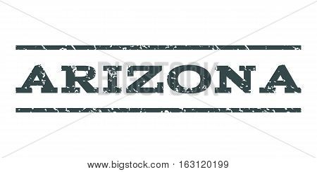 Arizona watermark stamp. Text caption between horizontal parallel lines with grunge design style. Rubber seal stamp with unclean texture. Vector soft blue color ink imprint on a white background.