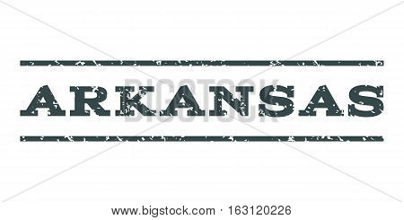 Arkansas watermark stamp. Text tag between horizontal parallel lines with grunge design style. Rubber seal stamp with unclean texture. Vector soft blue color ink imprint on a white background.