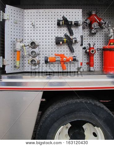 A set of specialized tools in the fire-engine