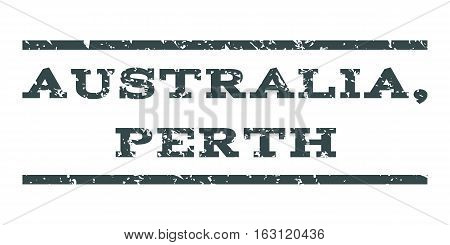 Australia, Perth watermark stamp. Text tag between horizontal parallel lines with grunge design style. Rubber seal stamp with dirty texture. Vector soft blue color ink imprint on a white background.