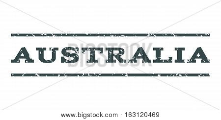 Australia watermark stamp. Text caption between horizontal parallel lines with grunge design style. Rubber seal stamp with dust texture. Vector soft blue color ink imprint on a white background.