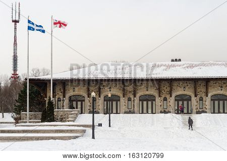 Montreal CA - 15 December 2016: Mont-Royal Chalet located near the summit of Mount Royal in Montreal.