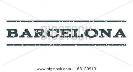 Barcelona watermark stamp. Text tag between horizontal parallel lines with grunge design style. Rubber seal stamp with dust texture. Vector soft blue color ink imprint on a white background.