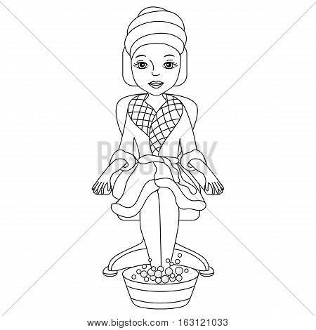 Vector black and white spa girl in robe