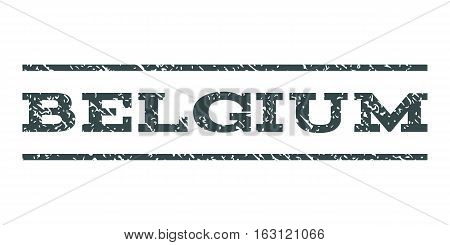 Belgium watermark stamp. Text tag between horizontal parallel lines with grunge design style. Rubber seal stamp with dirty texture. Vector soft blue color ink imprint on a white background.