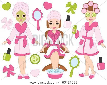 Vector spa girls in pink robes in spa salon