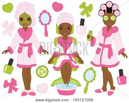 Vector African American spa girls in pink robes