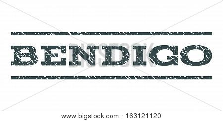 Bendigo watermark stamp. Text caption between horizontal parallel lines with grunge design style. Rubber seal stamp with dust texture. Vector soft blue color ink imprint on a white background.