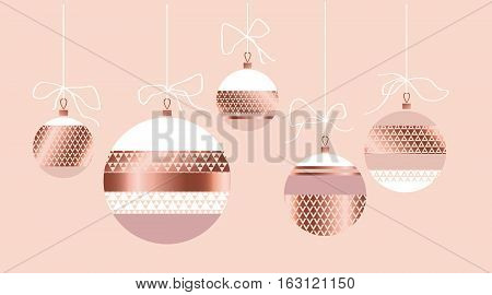 rosy pastel color and gold metal texture vector background with balls. luxury festive xmas backdrop. geometry metal surface Christmas tree toys background. geometric Christmas seamless pattern.