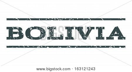Bolivia watermark stamp. Text caption between horizontal parallel lines with grunge design style. Rubber seal stamp with dirty texture. Vector soft blue color ink imprint on a white background.