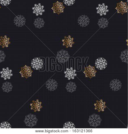 Flake of snow seamless pattern. Christmas backdrop. Winter pattern. Season vector illustration. elegant fancy light Snowflake motif. Snow geometry background. Xmas background.
