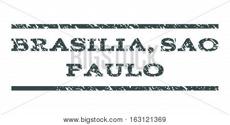 Brasilia, Sao Paulo watermark stamp. Text tag between horizontal parallel lines with grunge design style. Rubber seal stamp with dirty texture.