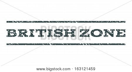 British Zone watermark stamp. Text caption between horizontal parallel lines with grunge design style. Rubber seal stamp with dirty texture. Vector soft blue color ink imprint on a white background.